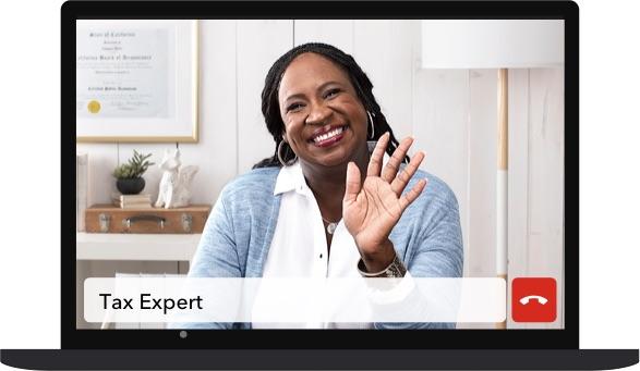 Tax expert on laptop screen